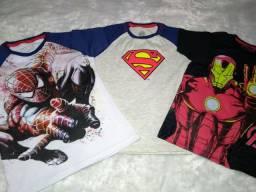 Kit 3 camisetas infantil super heróis Marvel ( promoção)