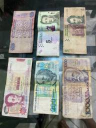 Notas e moedas antigas