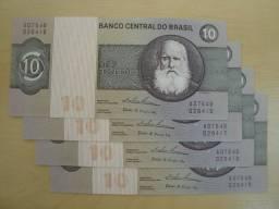 Quatro Cédulas de 10 Cruzeiros - Raras