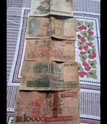 Coleção de dinheiro antigo, cruzados, cruzeiros, cruzados novos