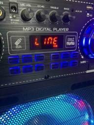 Caixa de Som 5000W Bluetooth Microfone S/ fio e Controle Remoto! ??<br>