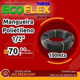 """Mangueira Polietileno Preta Lisa 1/2"""" R$70,00 tubo irrigação, ramais domiciliar e predial."""