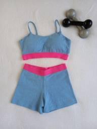 Conjunto em jacquard azul candy com elástico pink