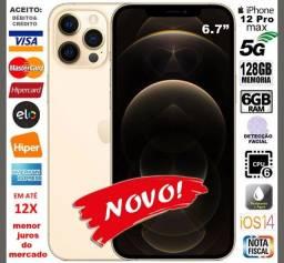 "IPhone 12 Pro Max 128GB Hexa Core, 6GB Ram, Tela 6.7"", 4Câm 12MP, Novo, NF, Gar, Troco"