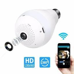 Lâmpada Câmera Espiã Ip LED Wifi Hd Panorâmica 360º Celular<br>