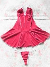 Camisola em veludo rosa