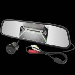 Kit Câmera de Ré + Espelho Retrovisor LCD
