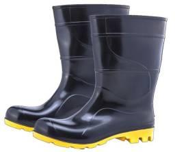 Bota Galocha PVC Borracha preta e amarela nº 43 Cano Médio com Forro Worker