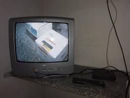 Tv .tubo 14 polegadas funcionando com conversor e antena digital