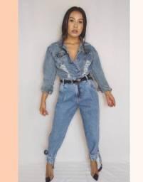 Calça jeans com amarração na perna - Tamanho 40