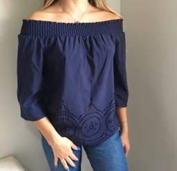 blusinha ombro a ombro azul escuro