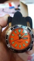Relógio Orient Poseidon 469Ss039 Laranja com 2 Pulseiras