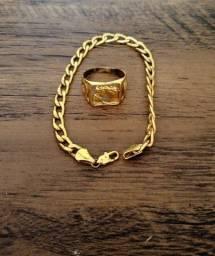 Anel e pulseira banhado a ouro