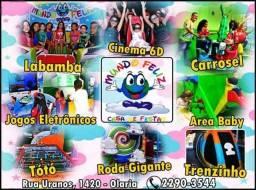 Casa de Festas Mundo Feliz + Decoração + Equipe + Buffet Infantil + 30 Brinquedos