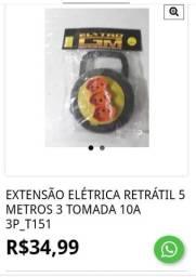 EXTENSÃO ELÉTRICA RETRÁTIL 5 METROS 3 TOMADA 10A 3P_t151