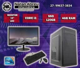 Computador Home Office Core i3 com Monitor 15 Polegadas 4GB + SSD 120gb - Loja Natan Abreu