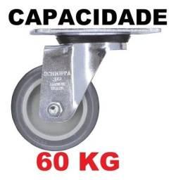"""2 roldanas Giratório 6"""" Azul/cinza 60kg- promoção"""