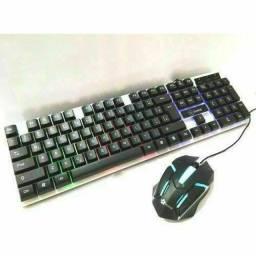Kit Teclado Gamer Semi Mecanico Led Mouse 2400 Dpi Led Usb