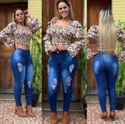Calças Jeans Feminina Cintura Alta Com Lycla Melhor Preço
