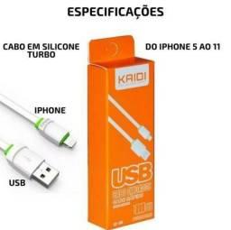 Cabo Carregador  Turbo iPhone 5/5s/6/6s/7/8/ 7/8 Plus/ Xs/X/11 Kaidi Kd-306 Reforçado