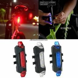Luz de sinalização recarregável USB para bicicleta bike 4 modos