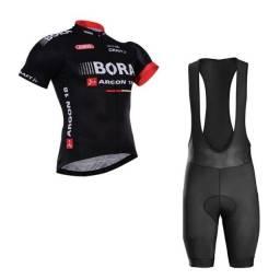 Roupa de Ciclismo Camisa + Bermuda Bretelle Gel Mtb Ciclista Uniforme