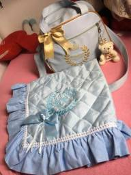 Kit bolsa maternidade/manta metalassê príncipe + Brinde