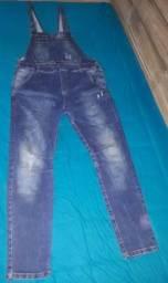 Macacão jeans masculino usado uma única vez