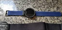 Garmin forerunner 230 com cinta de batimento cardíaco, cabo original e pulseira nova