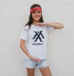 Camiseta Kpop Monsta X Branca com Preto