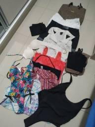 Kit combo: 1 Bolsa Felipe Krein, 2 Maiô, 1 sutiã tomara que caia, 6 blusinhas e 4 shorts