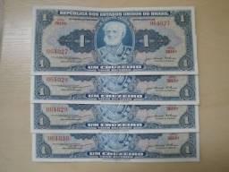 4 Cédulas de 1 Cruzeiro 1956 Sequenciais