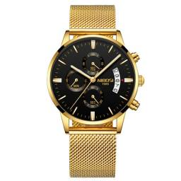 Nibosi Relógio Masculino Dourado Malha de Aço Original 3 ATM