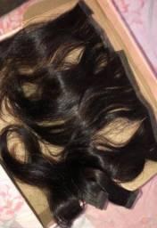 Mega Hair / Aplique humano castanho 100 gramas 50 cm