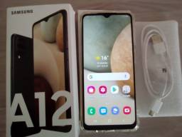 Vendo celular Samsung Galaxy A12 Branco 64 GB/ + microSD de 512 GB (novo)