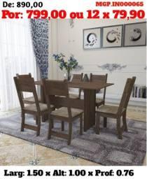 Conjunto de Mesa de 06 Cadeira- Mesa de Jantar 06 Cadeira- Saldão em MS