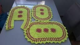 Conjunto banheiro 3 peças crochê
