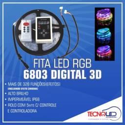 Fita Led 3D Colorida RGB Digital 328 Efeitos 5MT+Controladora+Controle Remoto Som/Carro