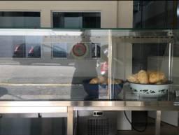 Bancada quente de inox com vitrine