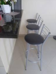 3 Banquetas Prata Alta Cozinha Bancada - Novas