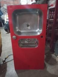 Cuba de Sobrepor Tramontina em Aço Inox e Vidro Temperado Vermelho