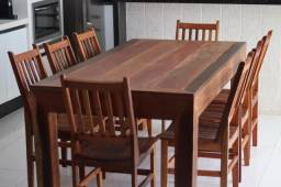 Mesa de Madeira de Demolição Maciça com 8 Cadeiras de peroba rosa