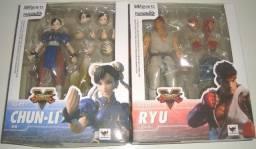 Boneco Street Fighter V Ryu + Chun Li Articulados Shf Oferta