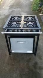 Fogão industrial de alta pressão 4 bocas com forno