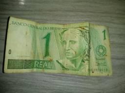 Nota de 1 real (original) + 2 dólares de brinde