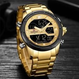 Relógio Naviforce 9138 Digital Analógico Casual Dourado Original.