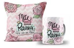 Caneca de Porcelana + Almofada Personalizada Dia das Mães