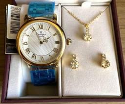 Kit Relógio Champion Feminino Dourado Novo Original (aceito cartão )