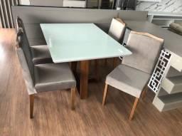 mesa com 4 cadeiras - madeira maciça