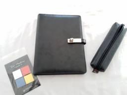 Agenda Planner Caderno Troca Folhas + Post it + Estojo Couro
